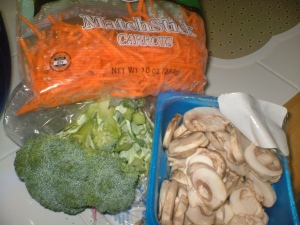 veggies: carrots, broccoli, mushrooms and frozen spinach
