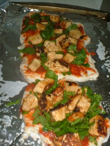 spinach, tofu and tempeh pizza